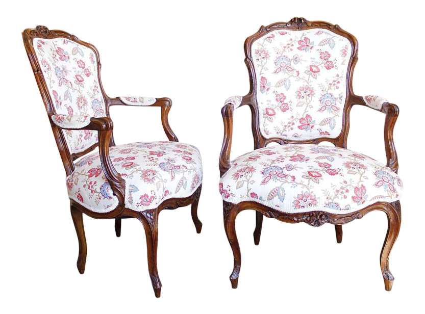18th Century French Provincial French Louis XV Fauteuil Arm Chairs   A Pair