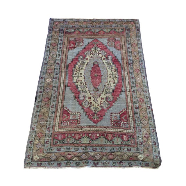"Antique Turkish Blue & Red Rug - 4' x 5'9"" - Image 1 of 7"