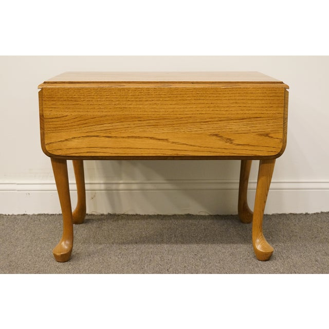20th Century French Country Mersman Solid Oak Drop Leaf Accent End Table For Sale - Image 10 of 13