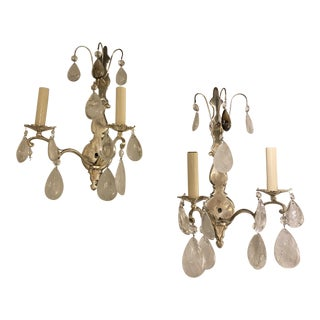 1900s French Silver Plated Sconces With Rock Crystals - a Pair For Sale