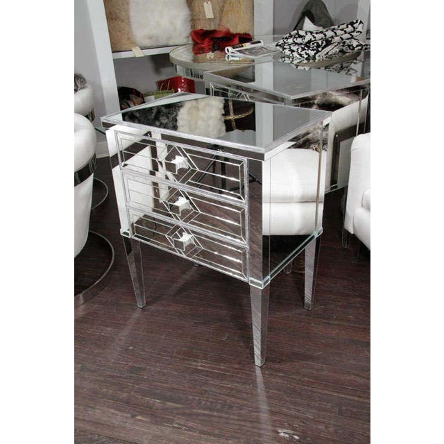 Pair of Three-Drawer Mirrored Commodes For Sale - Image 9 of 10