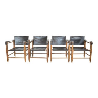 Set of Four Vintage Safari Chairs For Sale