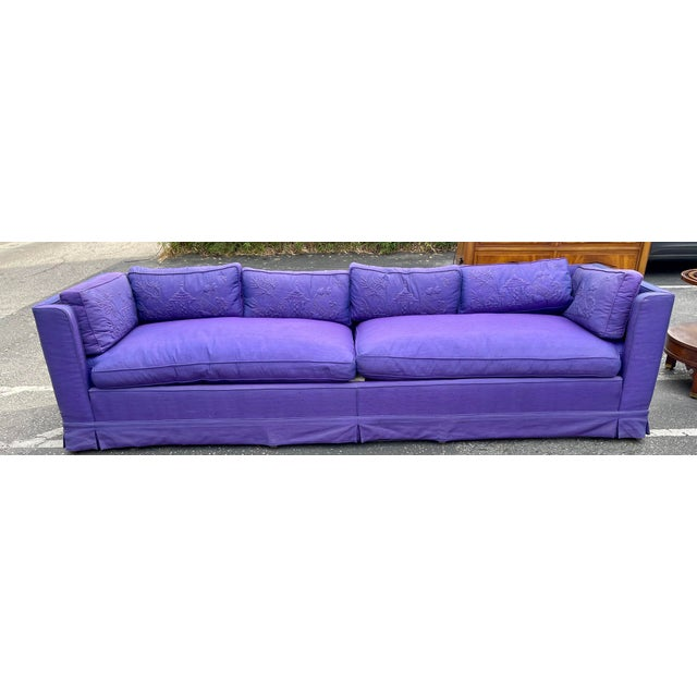 Grosfeld House Hollywood Regency Mid Century Modern 9' Low Sofa For Sale In Los Angeles - Image 6 of 8