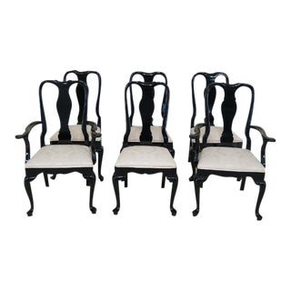 1990s Century Black Lacquer Dining Room Chairs - Set of 6