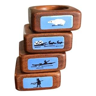 Enamel & Teak Arctic Themed Napkin Rings - Set of 4 For Sale