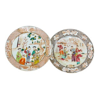19th Century Chinese Export Porcelain Plates - Set of 2 For Sale