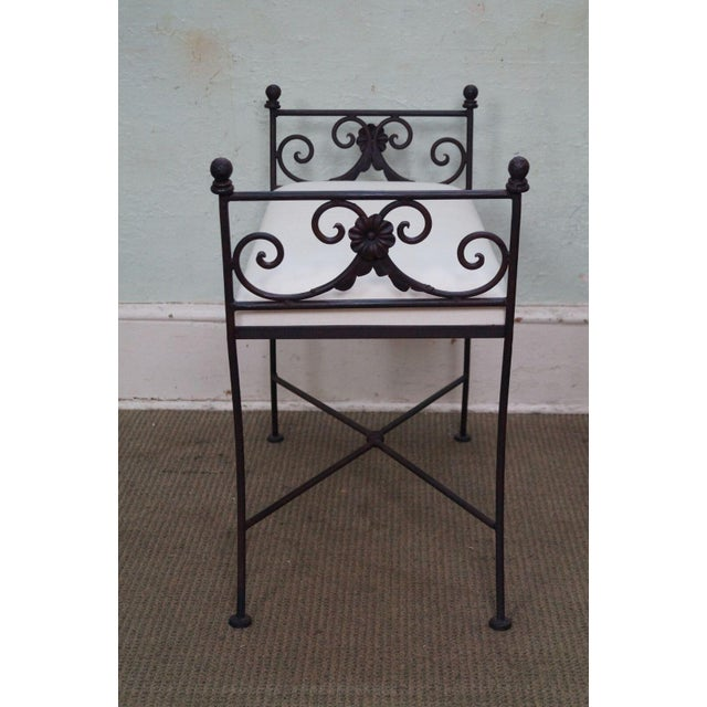 Hollywood Regency Black Iron Frame Regency Style Bench For Sale - Image 3 of 10