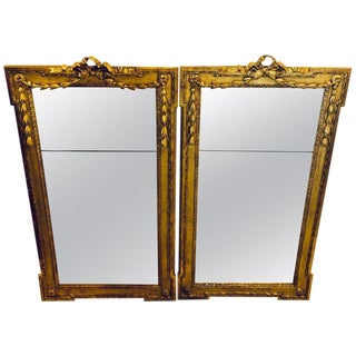 Pair of Louis XVI Style Carved Gilt Gold Wooden Wall or Console/Floor Mirrors For Sale