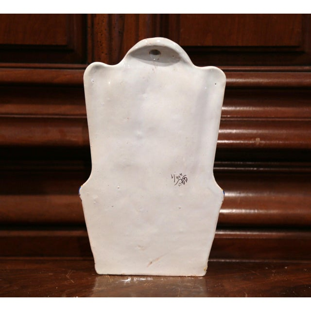 Ceramic 19th Century French Hand Painted Wall Hanging Flower Holder from Rouen For Sale - Image 7 of 9