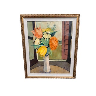 """Original Charles Levier """"Printemps"""" Framed Cubist Still Life With Flowers Oil Painting Circa 1960s 30"""" X 36"""" For Sale"""