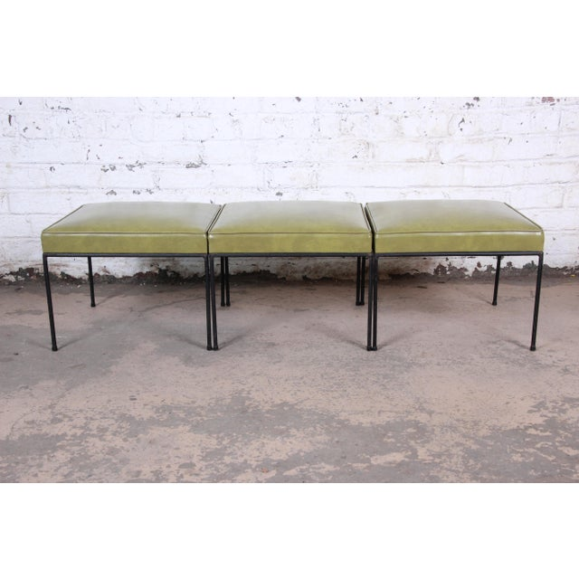 Paul McCobb Green Vinyl Upholstered Iron Stool or Ottoman For Sale In South Bend - Image 6 of 10