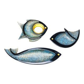 Vintage Fish Shaped Ashtrays - Set of 3