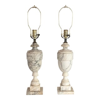 20th Century Neoclassical Alabaster Lamps - a Pair For Sale