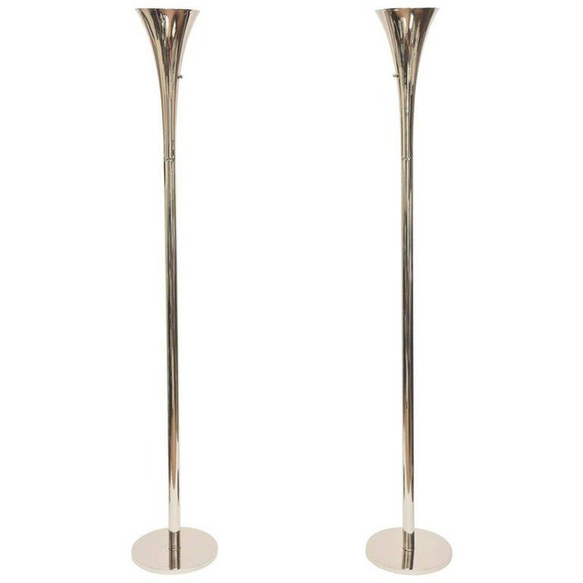 Pair of Midcentury Laurel Nickel Silver Torcheres/ Floor Lamps For Sale - Image 11 of 11
