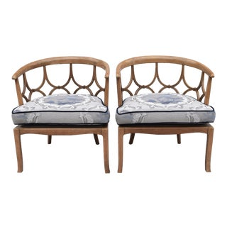 Pair of Mid Century Blonde Mahogany Club Chairs in the Style of Dorothy Draper For Sale
