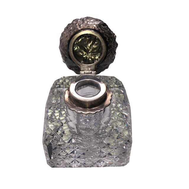 Late 19th Century Antique Cut Glass and Sterling Inkwell For Sale - Image 5 of 8