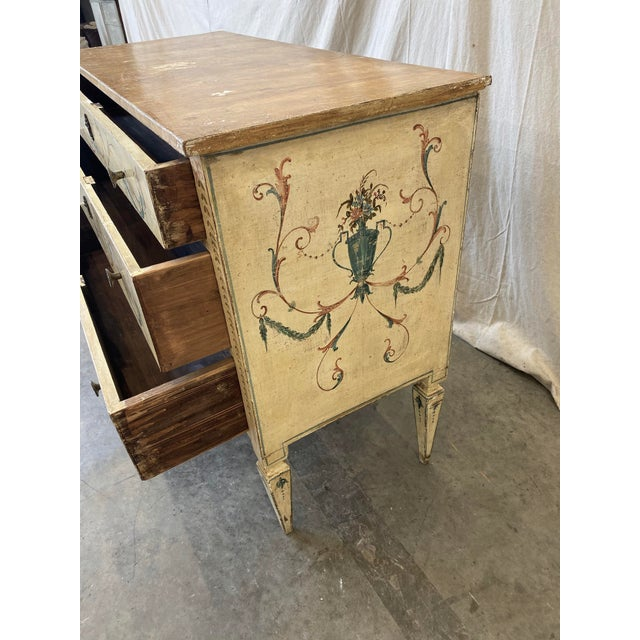 Wood Italian Commode With Hand Painted Designs - 19th C For Sale - Image 7 of 12