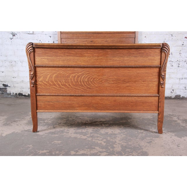 Antique Carved Tiger Oak Full Size Bed, Circa 1900 For Sale In South Bend - Image 6 of 8