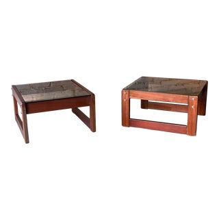 Vintage 1960s Percival Lafer Rosewood and Smoked Glass Side Tables - a Pair For Sale