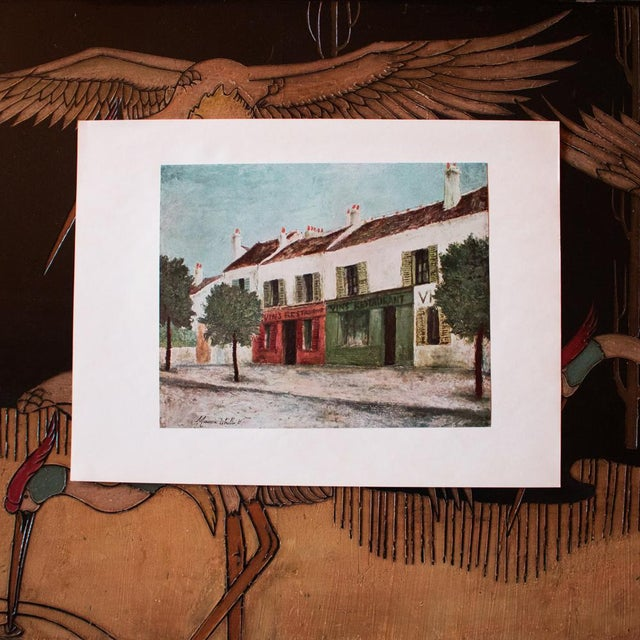 """French 1950s Maurice Utrillo, """"Bistros in a Suburb"""" First Edition Lithograph For Sale - Image 3 of 8"""