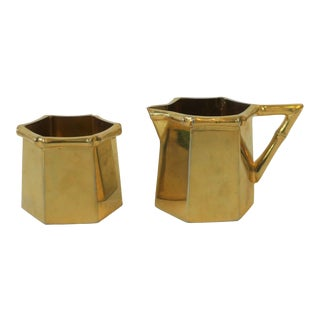1970s Brass Bamboo Creamer & Sugar Set in the Hollywood Regency Style - a Pair For Sale