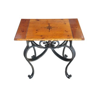 1990s Traditional Baker Furniture Wrought Iron Pine Side Table For Sale