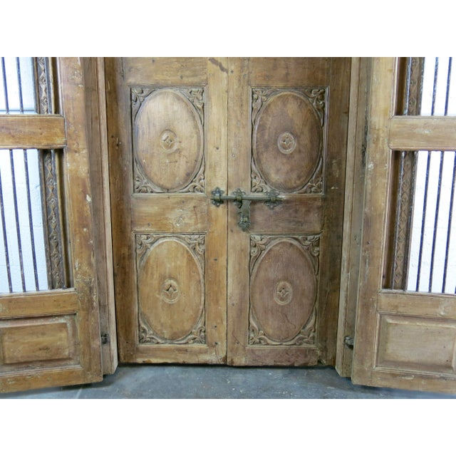 Antique Northern India Hand Carved Double Doors With Jamb - Image 4 of 10