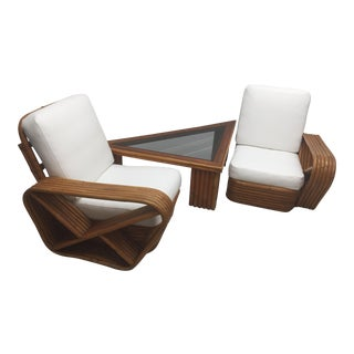 Paul Frankl Square Pretzel Adjustable Set - Sofa With Table or Lounge Chairs & Table For Sale
