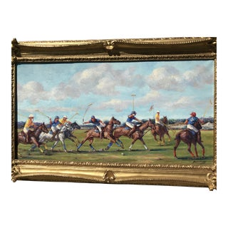 Edward Brodney Polo Match Horses Oil Painting For Sale