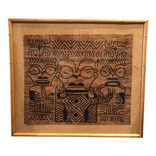 Tiki Bar Theme Tapa Cloth Hawaiian Framed Art 1960s For Sale