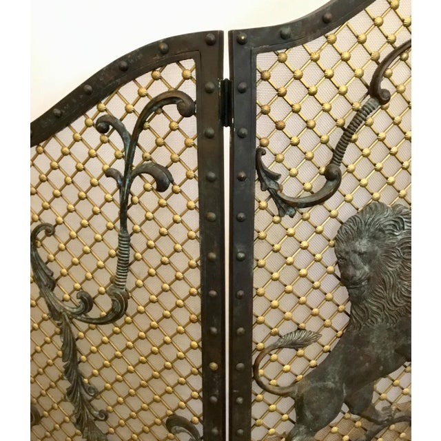 2010s Maitland-Smith Traditional Large Iron Fire Screen For Sale - Image 5 of 6
