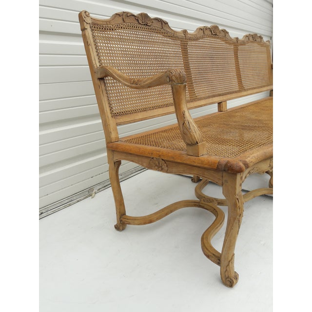 Caning Antique French Caned Three Seat Louis XV Style Settee French Provincial Long Caned Canape For Sale - Image 7 of 13
