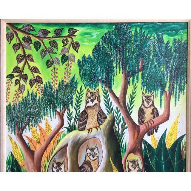 Haitian Folk Art Painter Owls Painting by Adam Leontus For Sale - Image 4 of 11