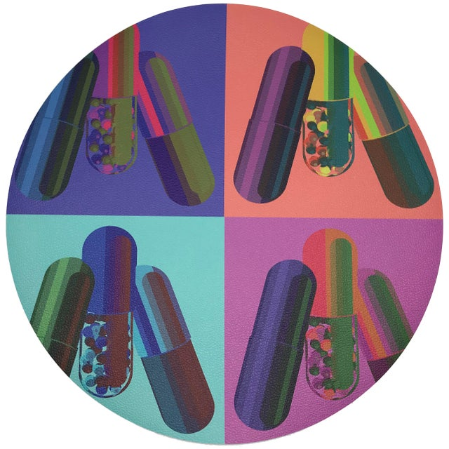 "Pop Art Nicolette Mayer Ode to Hurst Neon 16"" Round Pebble Placemats, Set of 4 For Sale - Image 3 of 3"