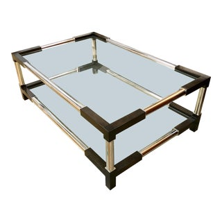 Contemporary Mason Glass and Wood Cocktail Table For Sale