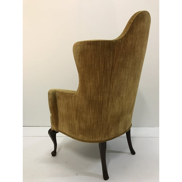 Wood Early 20th Century Queen Anne Tall Barrel Back Wingback Parlor Fire Side Chair Mahogany Cabriole Leg For Sale - Image 7 of 13