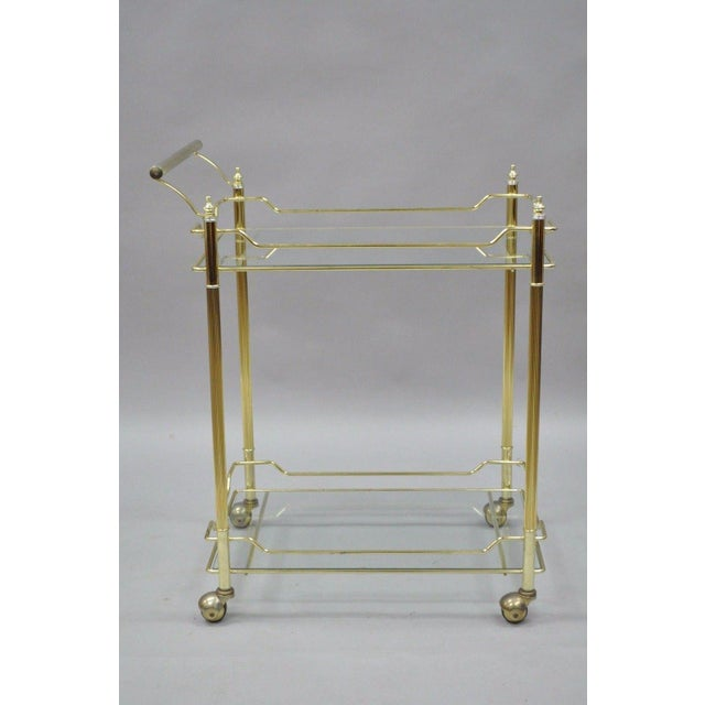 Mid Century Modern Brass Plated Metal & Glass Gold Rolling Bar Tea Cart - Image 3 of 11