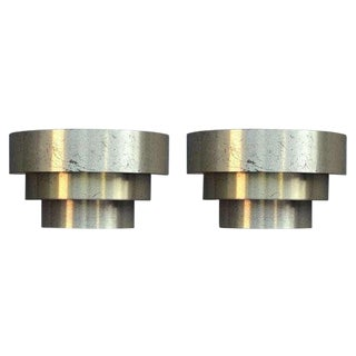 Minimalist 3 Tiered Brass Plated Sconces by Lightolier - a Pair For Sale