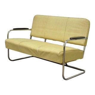 Vintage Kem Weber LLoyd Mfg Art Deco Tubular Chrome Bench Loveseat Sofa Chair B