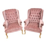 Image of 1990s Vintage Queen Anne Pink Velvet Wingback Chairs- A Pair For Sale
