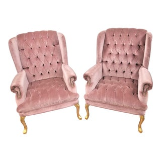 1990s Vintage Queen Anne Pink Velvet Wingback Chairs- A Pair For Sale