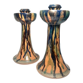 1990s Nc Studio Pottery, Billy Ray Hussey Pair of Candlesticks For Sale