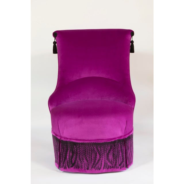 Sensual velvet chair with high sloped back featuring a lumbar and silk screened bullion. Available in several pop colors...