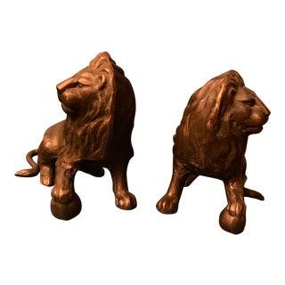 Vintage Bronze Lion Figurines - A Pair For Sale