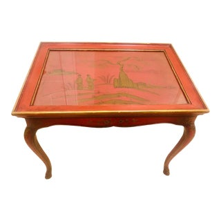 1940s Chinoiserie Gilt Red Accent Table With Hand Painted Detail For Sale