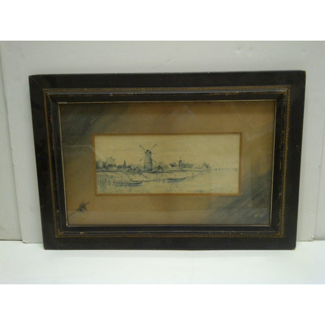 "This is an Original Antique Drawing -- Titled ""The Windmill"" -- By Georgie Lacock -- Circa 1890 -- The Drawing Is Framed..."