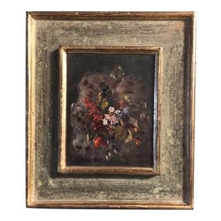Original Vintage Small Realistic Traditional Floral Still Life Painting on Panel For Sale