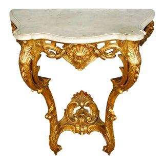 Rococo Style Gilt Marble-Top Wall Mounted Console For Sale