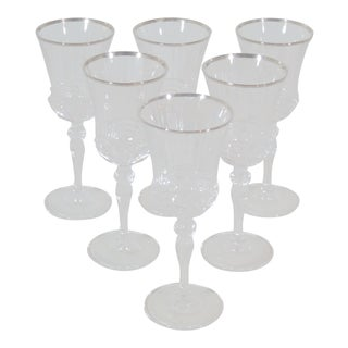 1970s Italian Crystal Wine Glasses - Set of 6 For Sale