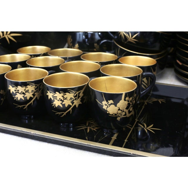Lacquer Vintage Japanese Laquereware Dining Set For Sale - Image 7 of 11